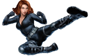 Обои Avengers, Black Widow, Scarlett Johansson, pose, Martial Arts