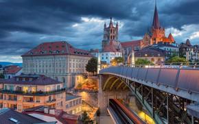 Картинка мост, здания, дома, Швейцария, собор, Switzerland, Lausanne, Лозанна