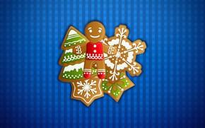 Картинка Минимализм, Новый Год, Рождество, Фон, Елка, Праздник, Еда, Печенька, Печеньки