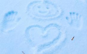 Картинка Зима, Сердце, Снег, Улыбка
