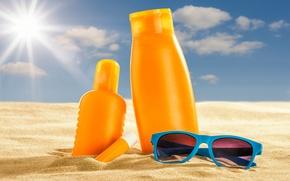 Картинка песок, море, пляж, солнце, очки, summer, beach, sand, vacation