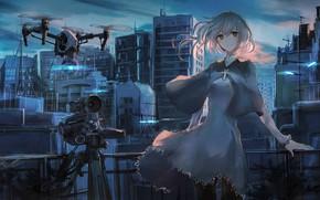 Картинка небо, девушка, облака, закат, город, дома, аниме, роботы, арт, фотоаппарат, руины, swav-coco, tosk
