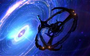 Картинка космос, звёзды, круговорот, космическая станция, Deep Space 9