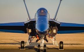 Картинка истребитель, аэродром, F-18, Blue Angels