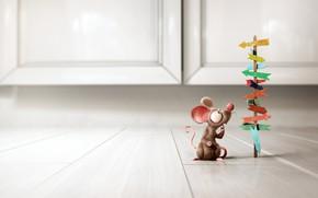 Картинка ситуация, минимализм, мышка, арт, выбор, Little Rat, Bruno Tornisielo