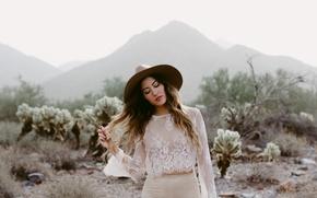 Картинка девушка, поза, шляпа