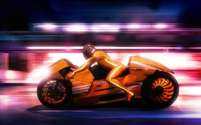 Картинка дизайн, стиль, фон, гонка, скорость, concept, мотоцикл, мотоциклист, Lee Rosario