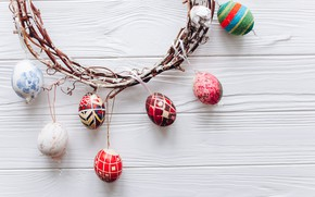 Картинка ветки, яйца, весна, colorful, Пасха, венок, wood, верба, spring, Easter, eggs, decoration, Happy, tender