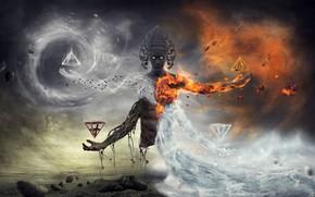 Обои вода, фантастика, огонь, земля, сон, мистика, фэнтези, воздух, божество, akasha, горящий взгляд, четыре стихии