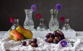 Картинка виноград, груши, вазы, астры