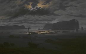 Картинка пейзаж, ночь, лодка, картина, Каспар Давид Фридрих, Северное Море в Лунном Свете