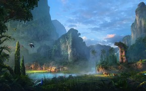 Картинка лес, животные, горы, водоём, paradise lost