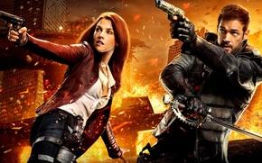 Картинка cinema, fire, girl, sword, gun, pistol, logo, weapon, woman, Resident Evil, man, Umbrella, movie, ken, …