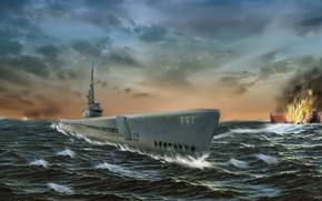 Картинка море, волны, взрыв, война, корабль, подводная лодка