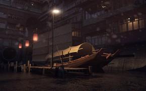 Картинка лодка, окна, причал, фонари, China Town