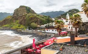 Картинка море, деревья, пальмы, скалы, побережье, дома, Португалия, Madeira, Porto da Cruz