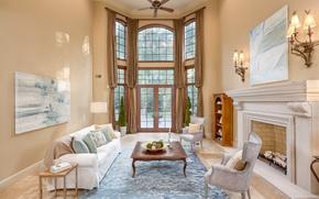 Обои дизайн, камин, гостиная, стиль