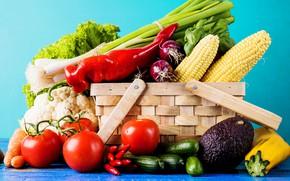 Картинка зелень, корзина, овощи