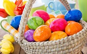 Обои весна, корзина, decoration, colorful, Easter, Пасха, тюльпаны, tulips, happy, яйца крашеные, spring, flowers, eggs, цветы