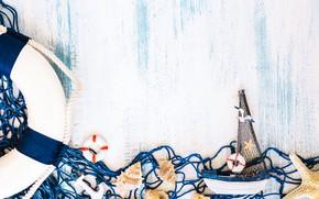 Картинка фон, сетка, ракушка, кораблик, морска звезда, морской