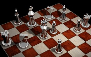 Обои рендеринг, фигуры, доска, шахматы