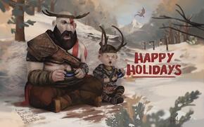 Картинка Sony, Kratos, Кратос, God Of War, Happy Holiday, 2017, Santa Monica Studio