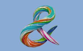 Обои амперсанд, символ, краски, брызги