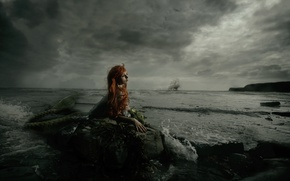 Картинка девушка, тучи, корабль, русалка, парусник, прибой