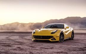 Картинка пейзаж, дизайн, пустыня, желтая, Ferrari F12