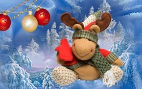 Картинка зима, игрушка, новый год, праздик