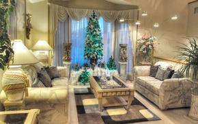 Обои цветы, диван, праздник, лампа, растения, картина, Новый Год, Рождество, столик, гостиная