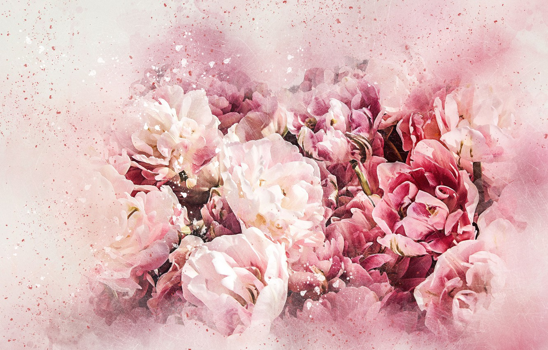Фото обои цветы, букет, картина, акварель
