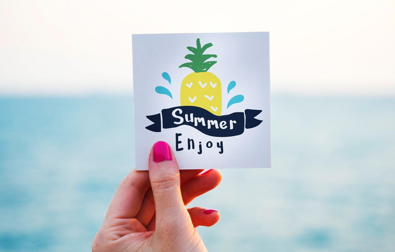 Фото обои лето, надпись, рисунок, рука, ананас, открытка