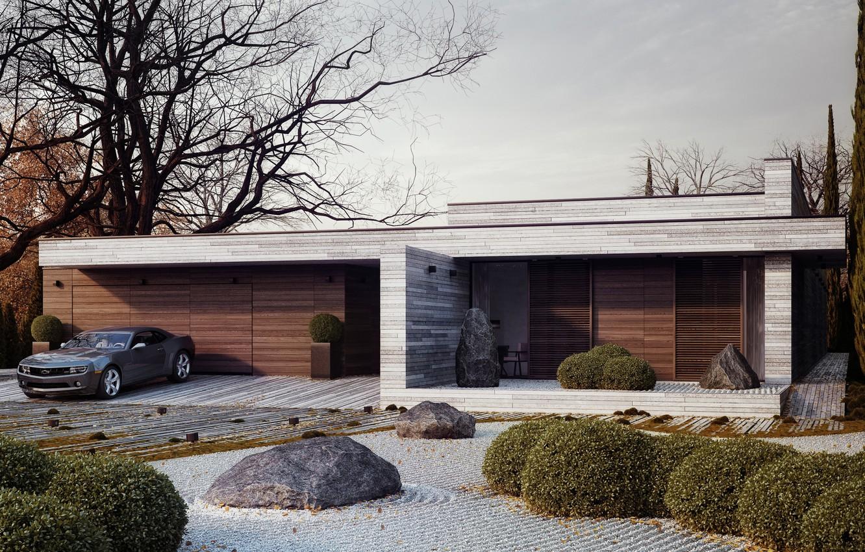 Фото обои дизайн, дом, камни, дерево, Chevrolet, Camaro, кусты, Horizontal, Michal Nowak