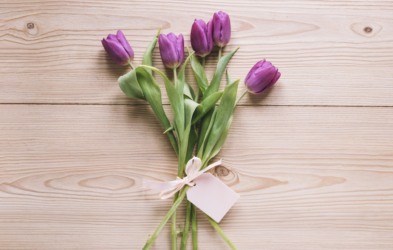 Фото обои цветы, букет, тюльпаны, love, fresh, wood, flowers, romantic, tulips, spring, purple, with love