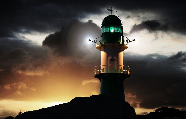 Фото обои небо, тучи, побережье, маяк