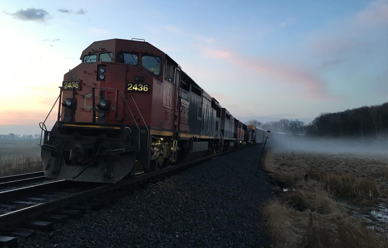 Фото обои фон, поезд, железная дорога