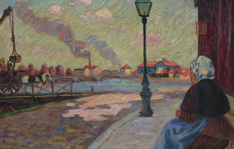 Фото обои река, улица, картина, фонарь, городской пейзаж, Арман Гийомен, Armand Guillaumin, Сена в Шарантоне