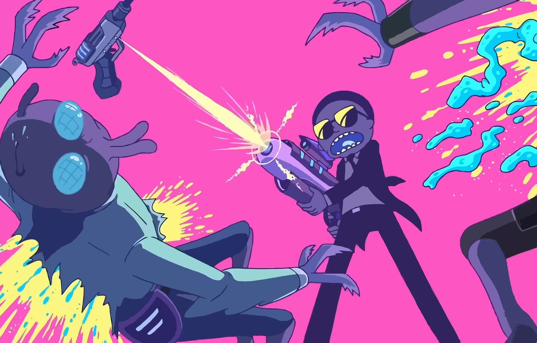 Фото обои брызги, желтый, зеленый, пистолет, оружие, муха, серый, огонь, розовый, черный, кровь, темный, светлый, джинсы, арт, …