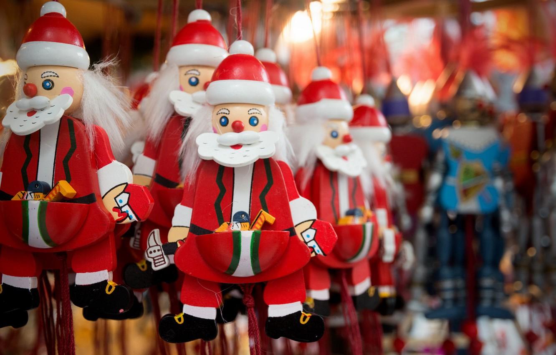 Фото обои макро, фон, игрушки, Санта-Клаусы