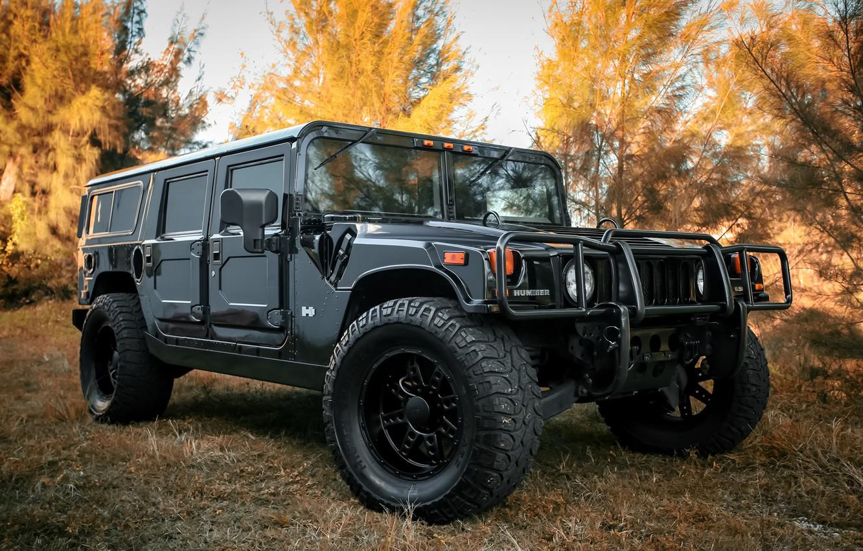 Фото обои wheels, black, Hummer, with, matte, Customized, KMC