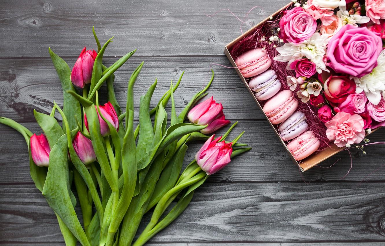 Фото обои цветы, коробка, подарок, букет, pink, тюльпанов, macaron