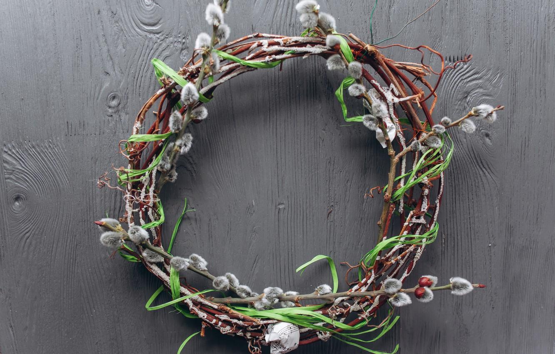 Фото обои ветки, весна, Пасха, венок, wood, верба, spring, Easter, decoration, Happy