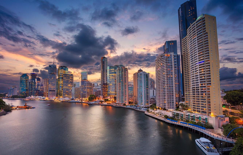 Фото обои река, здания, дома, Австралия, набережная, небоскрёбы, Australia, Queensland, Брисбен, Brisbane, Квинсленд, Река Брисбен, Brisbane River