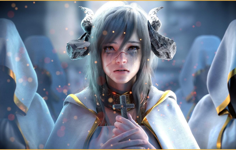 Фото обои фэнтези, арт, Fantasy, A Demon Who Became a Priest, Jay Choi