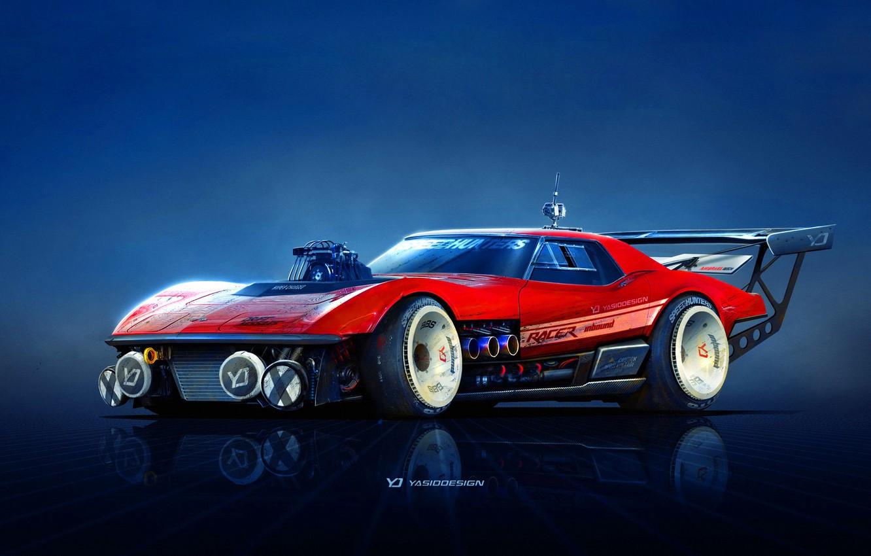 Фото обои Красный, Авто, Corvette, Chevrolet, Машина, Автомобиль, Арт, Chevrolet Corvette, Рендеринг, Yasid Design, Yasid Oozeear, YASIDDESIGN