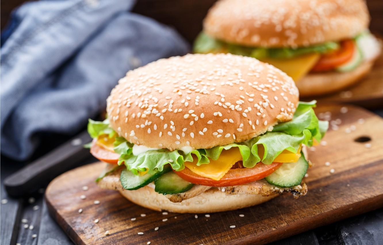 Фото обои овощи, котлета, булочки, бургеры