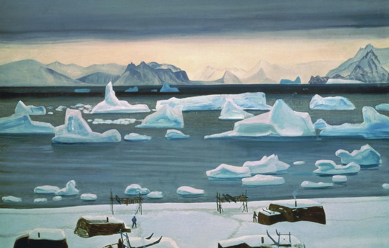 Фото обои море, пейзаж, горы, картина, айсберг, Rockwell Kent, Рокуэлл Кент, Ноябрь в Генландии