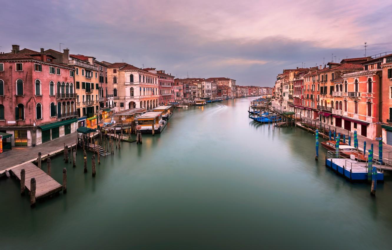 Фото обои Италия, Венеция, канал, Italy, sunset, Venice, Panorama, channel, Grand Canal, Rialto Bridge