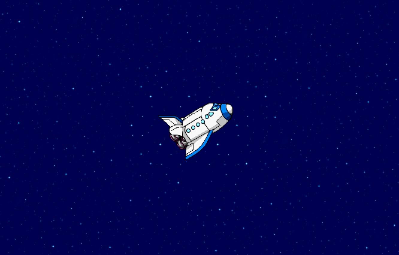 Фото обои Рисунок, Звезды, Космос, Арт, Пиксели, Летит, Шатл, 8Бит